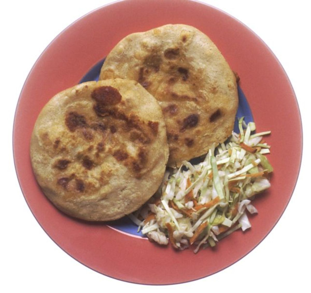 Lucky foods of Texas include cole slaw (for the cabbage). Here you see it with corn cakes.