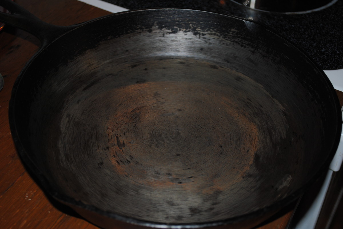 This is how much cast iron hates water: I was interrupted, so I left the wet pan on the counter for about an hour to do something else. When I came back, the rust had already appeared.