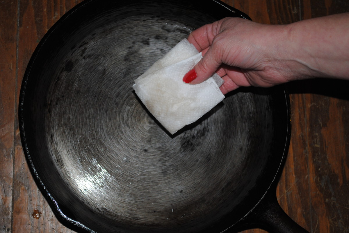 The only thing left on this towel is clean oil - the skillet is now truly clean.