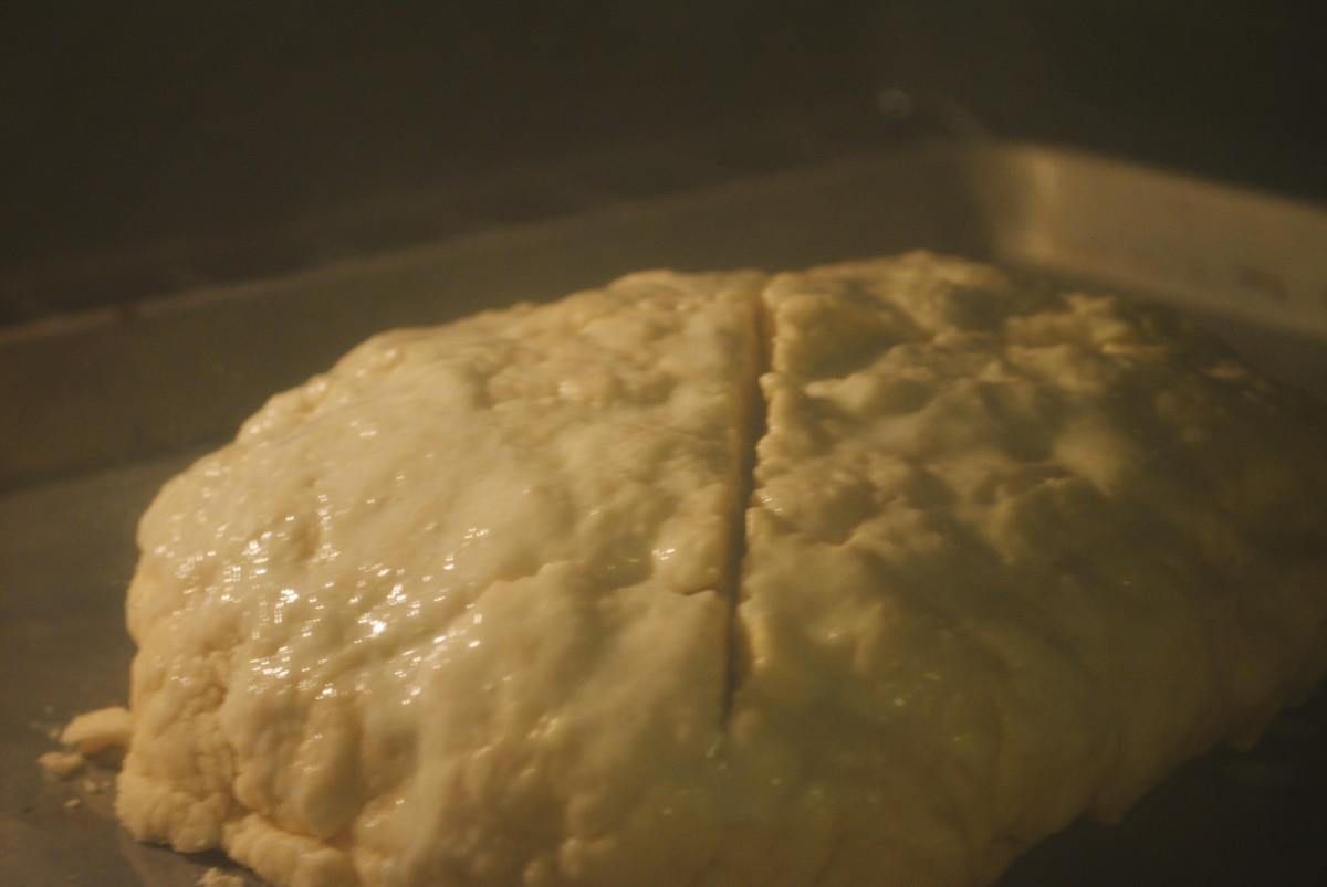 In the oven - see how the 'x' starts to separate?