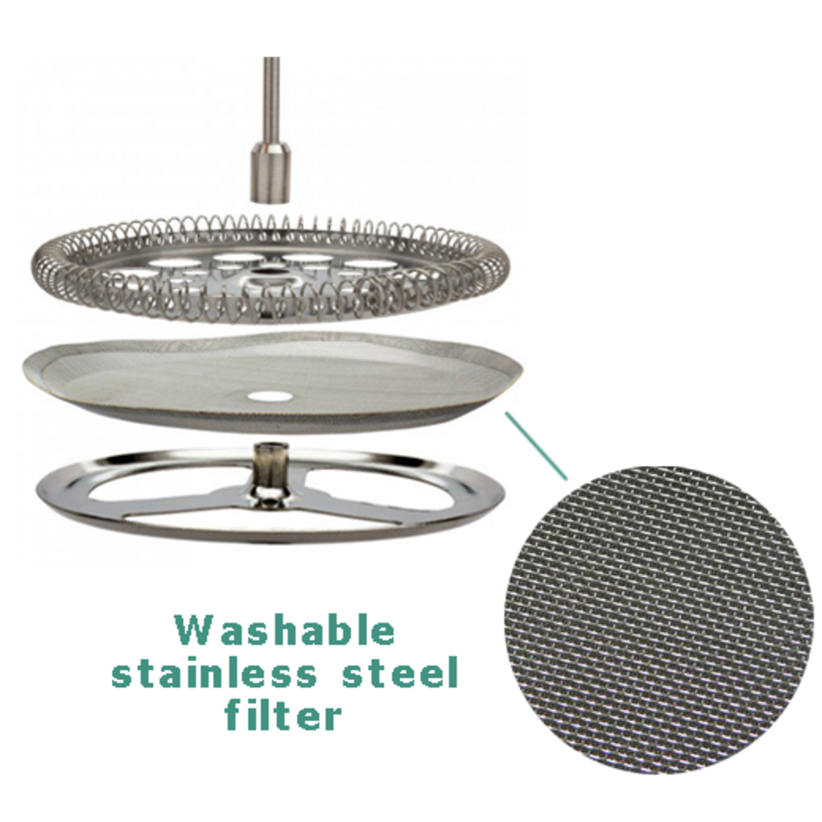 The easy to clean stainless steel mesh filter makes the filtration process fast.