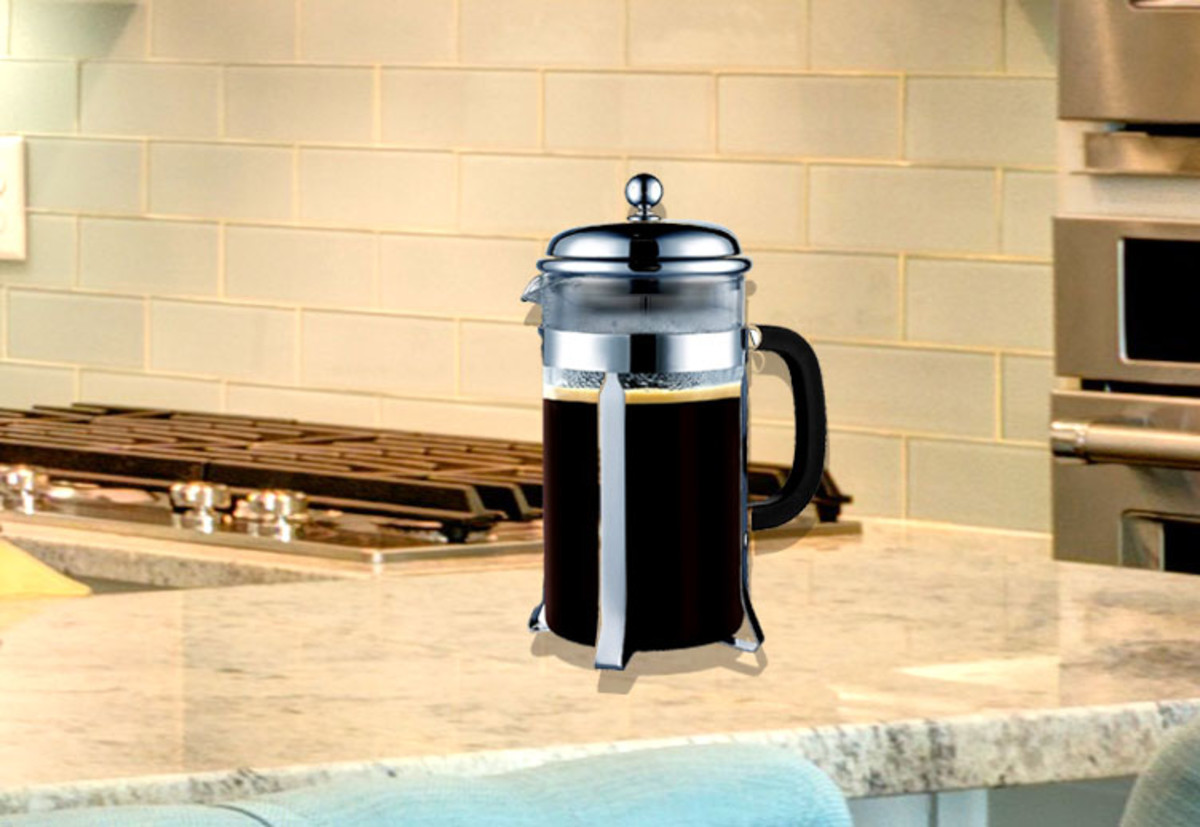 The Sterling Pro glass French press.