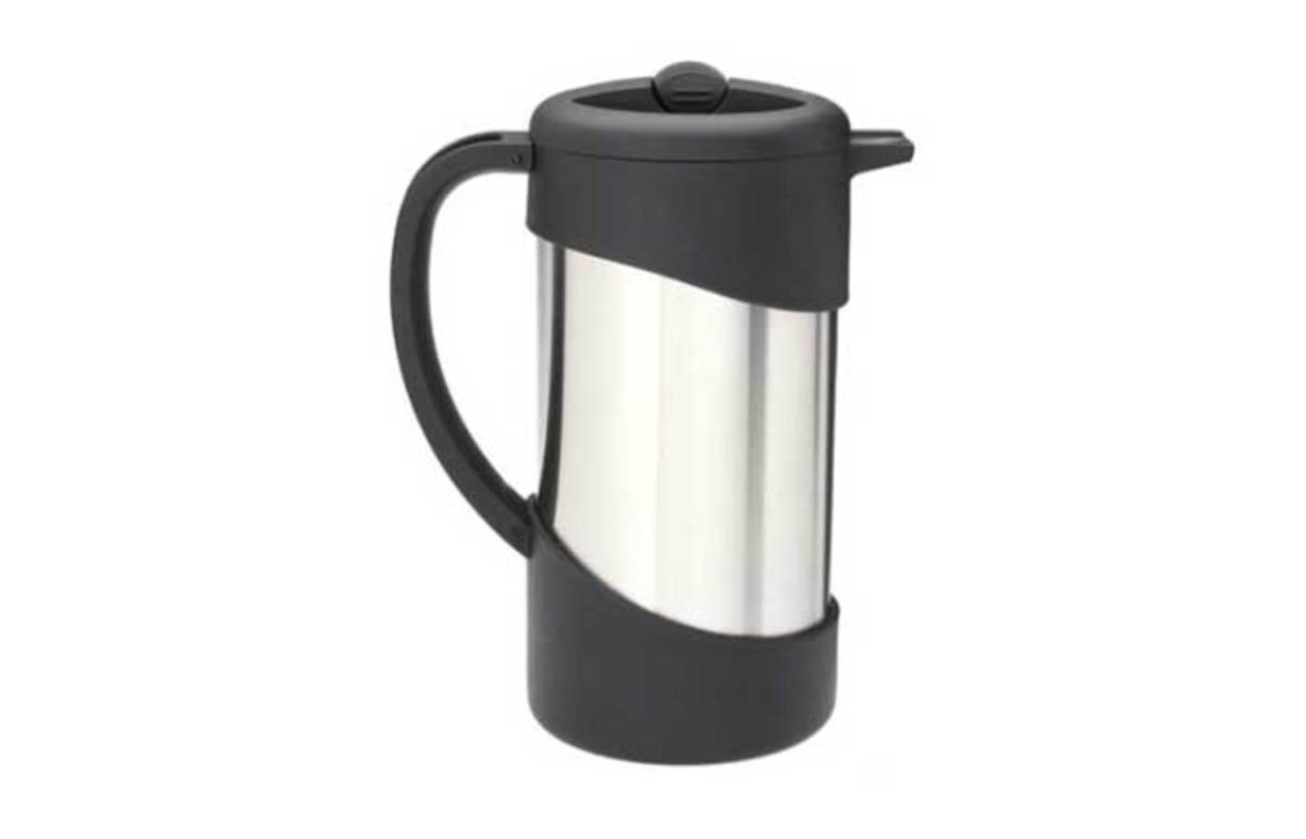 Vacuum flask and press combined.