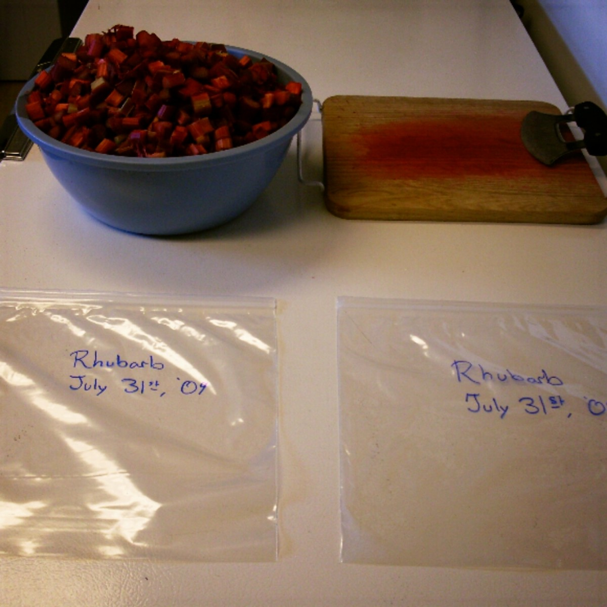 This looks like a lot of rhubarb, but it won't quite fill these two 1-gallon sacks. Estimate the best you can, and pre-label, so condensation won't affect the ink.