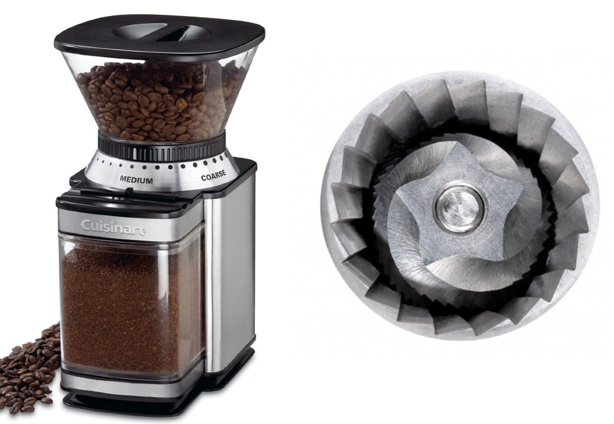 Conical burr grinder with blade mechanism.