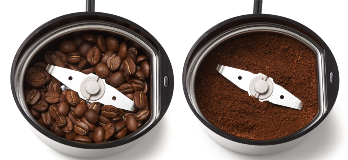 A fast spinning blade pulverizes the beans.