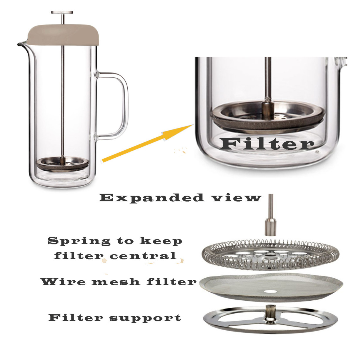Exploded view of a French press coffee filter.