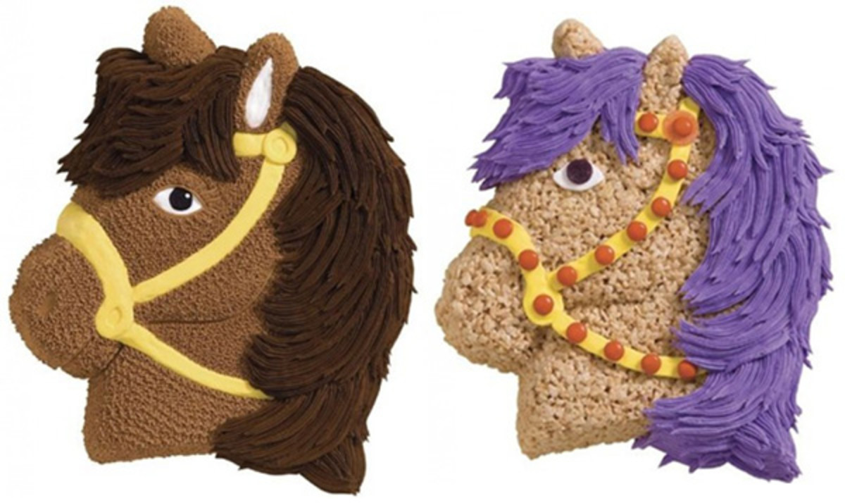 These were made with a horse shaped cake pan. The cake on left is iced by starring in buttercream icing. On the right, the cake is made of Crispy Treats, with icing added for the mane, eyes, and halter.