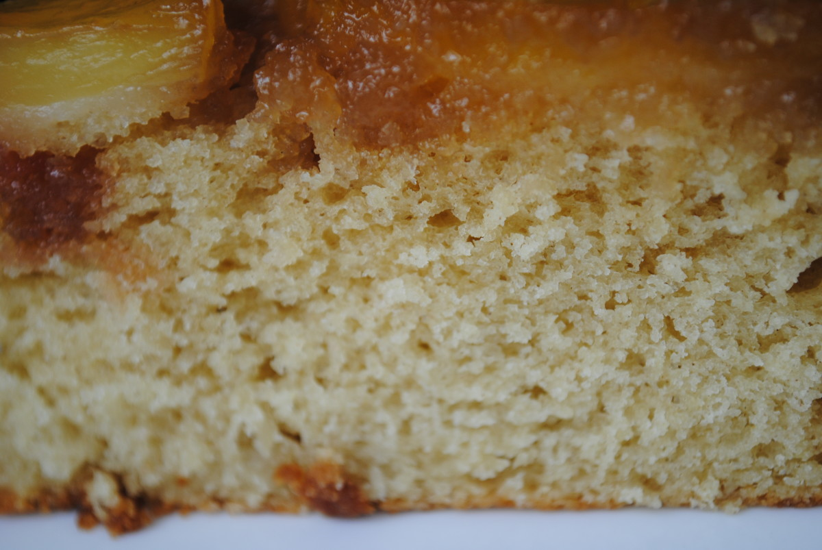 This cake has a delicious crumb, with a moist, caramel top.