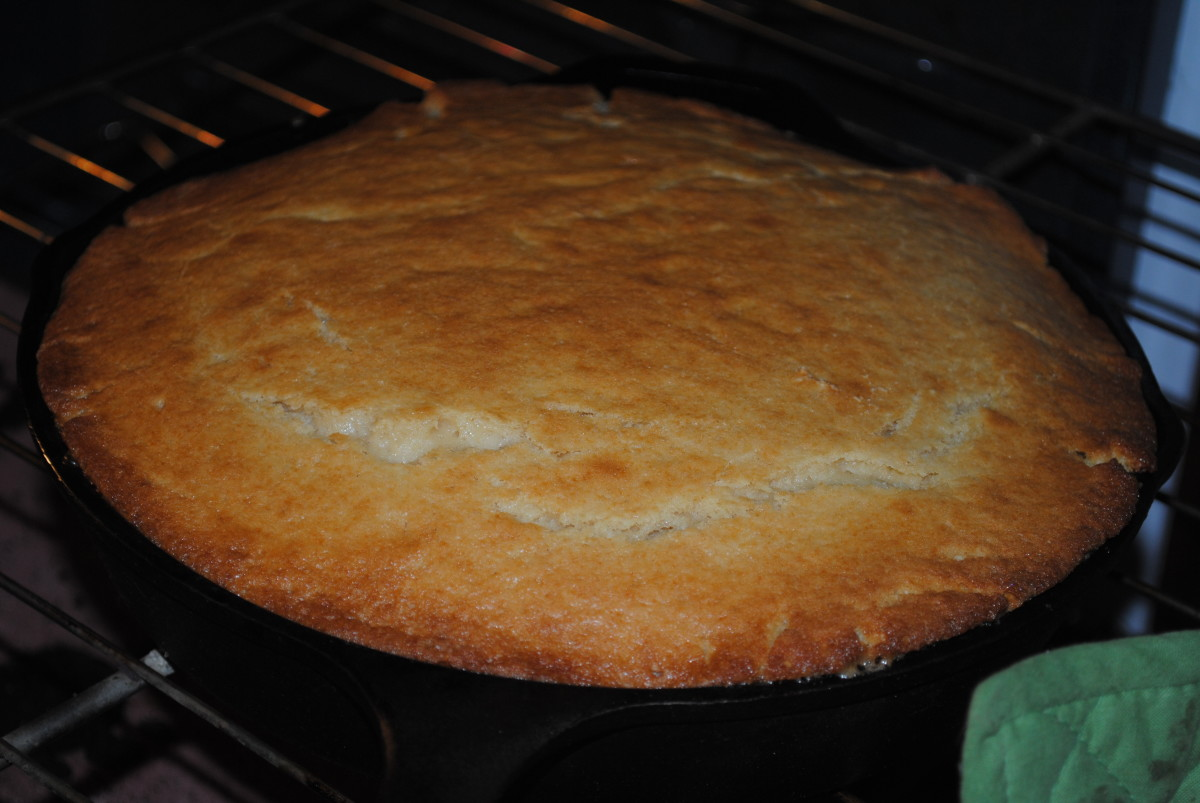 The foundation of a pineapple upside down cake is a beautiful yellow cake base. It should puff and turn golden brown.