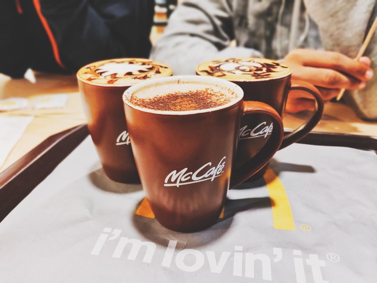 Mugs of McCafe coffee drinks.