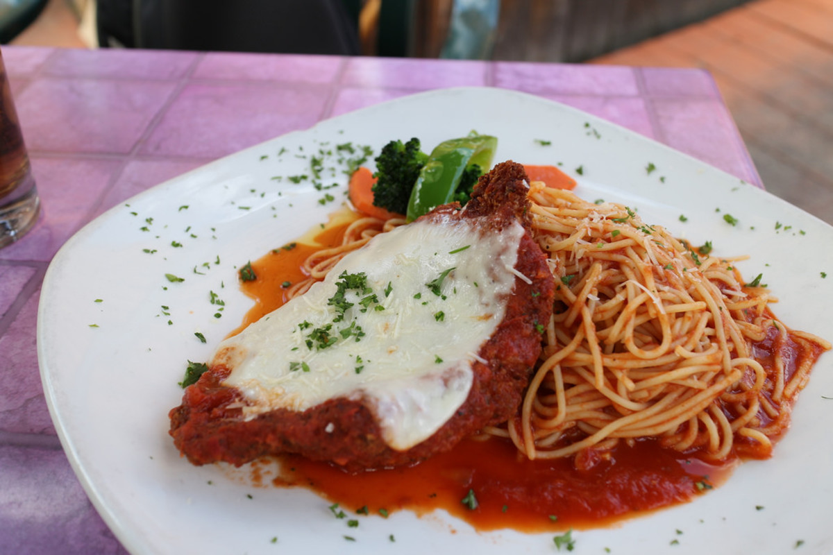 Chicken Parmigiana with pasta