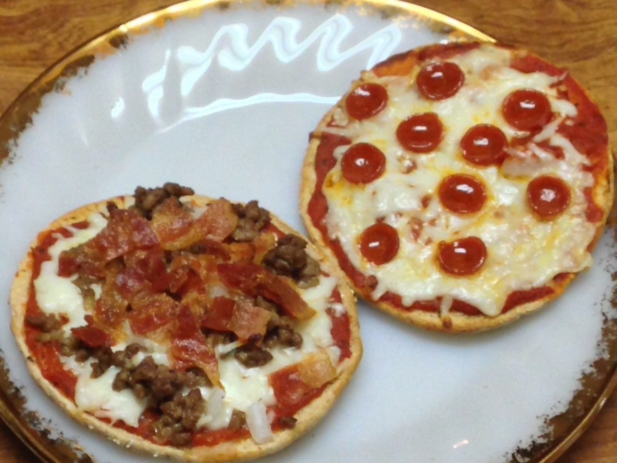 Pepperoni pizza and Hamburger, bacon & onion pizza