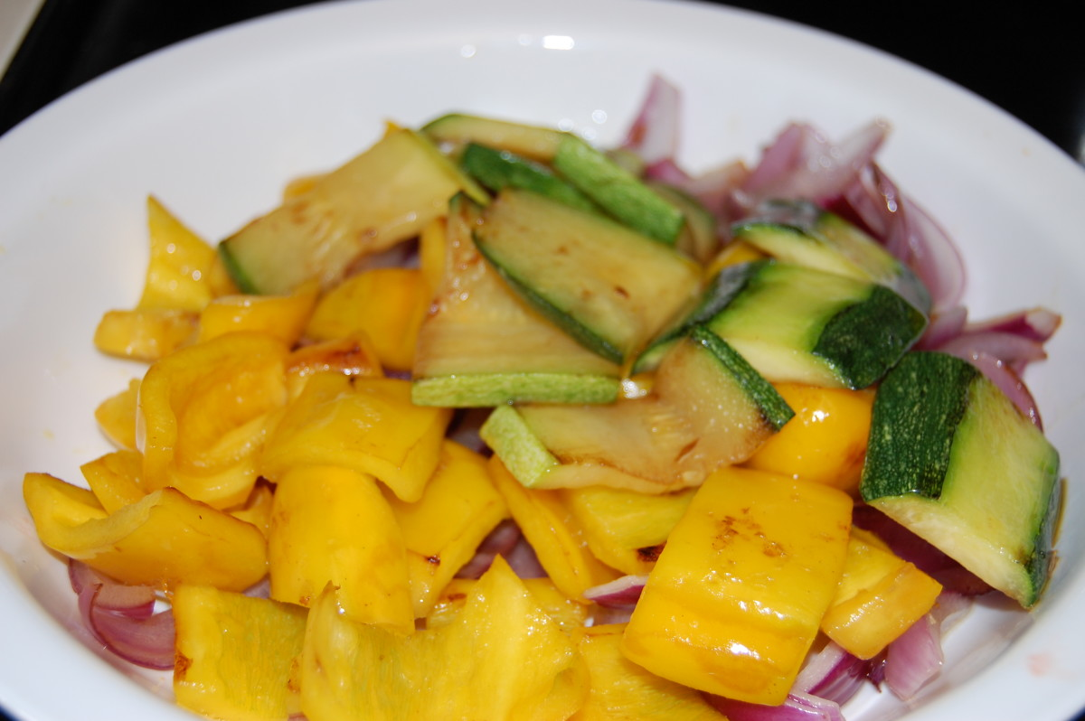 Sauteed zucchini, yellow peppers, and purple onion