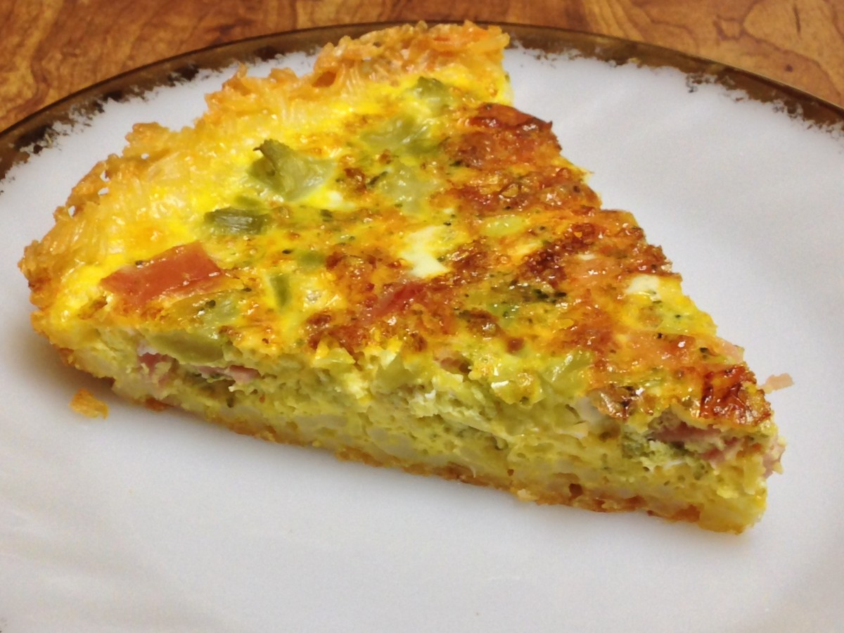 Broccoli, ham, and cheese quiche with rice crust.