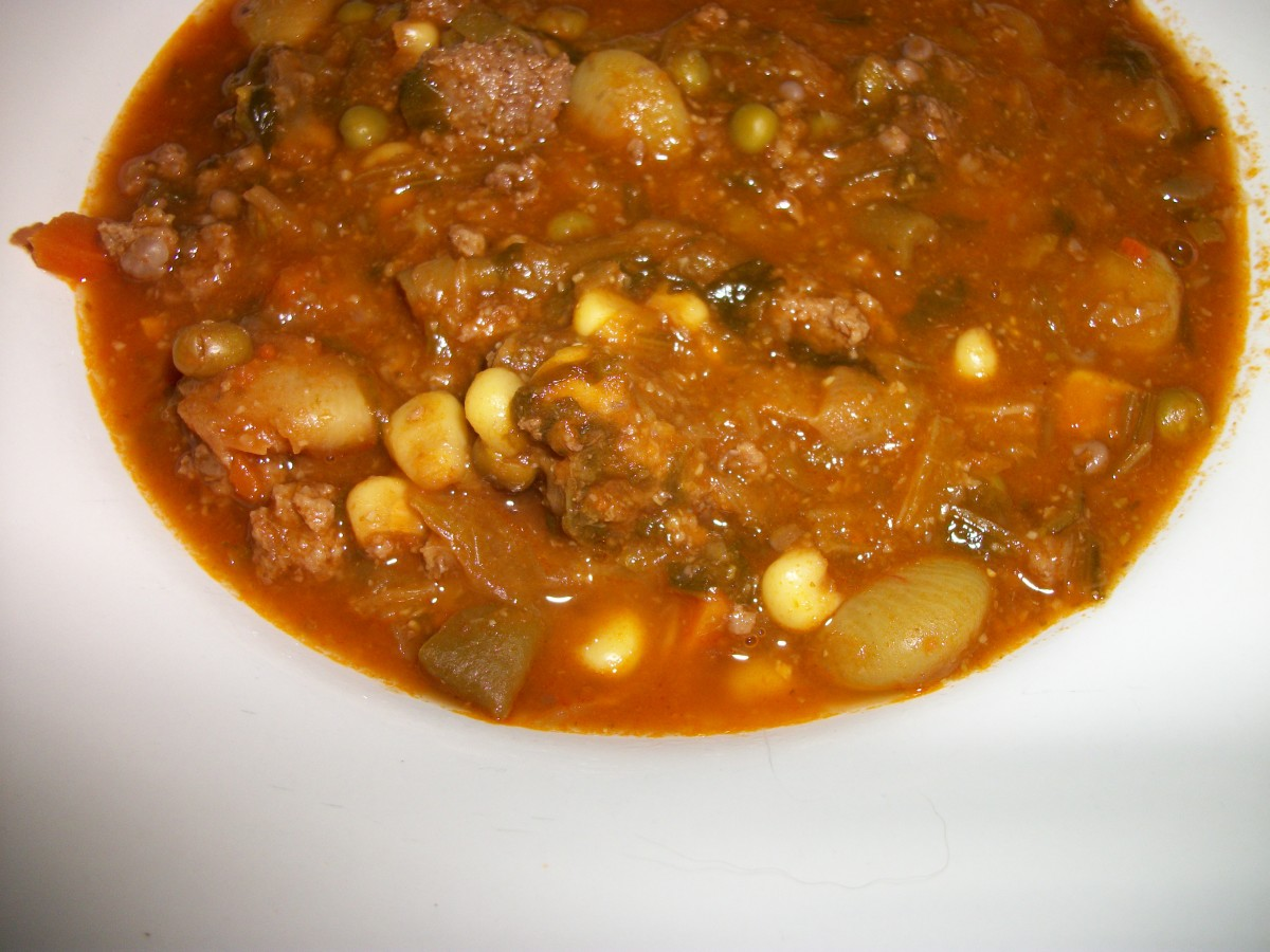 Serving of vegetable soup with 1 bread and 1 meat exchange.
