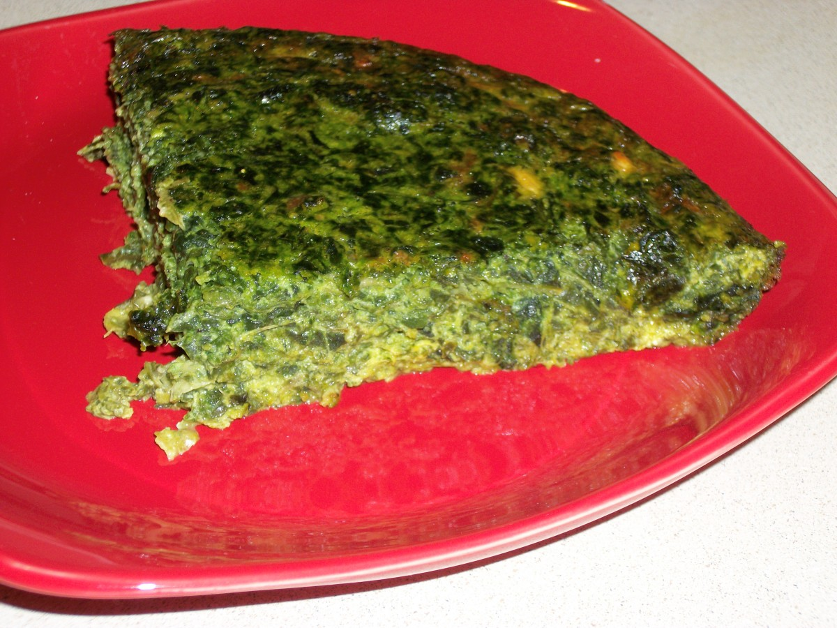 Crustless Quiche made with eggs, chard, and feta cheese