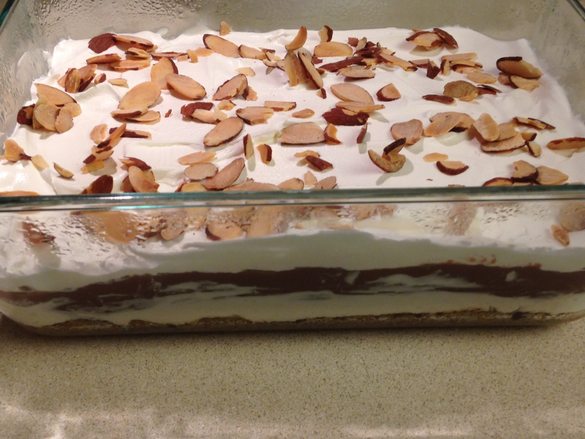 Layer 4: Cool Whip and Toasted Nuts