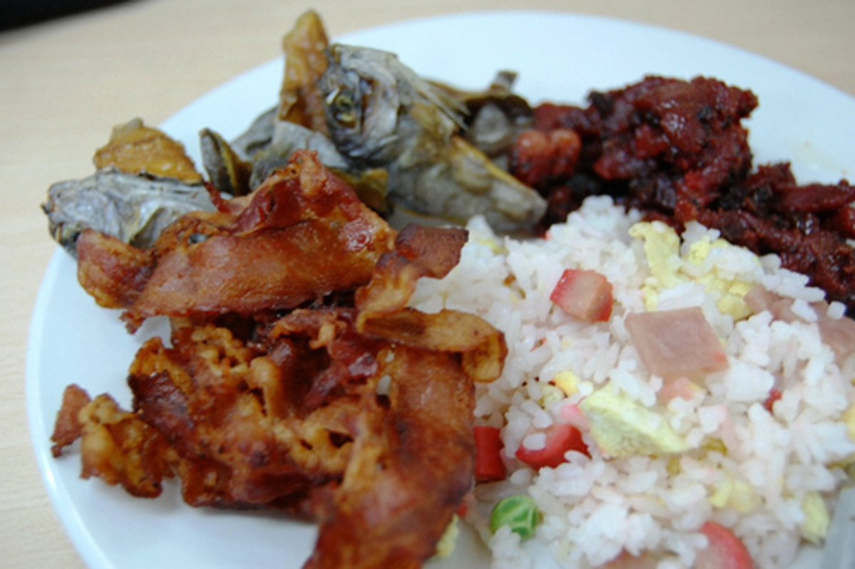 Fried Rice with Bacon, Tocino, and Dried Salted Fish (Photo courtesy by georgeparrilla from Flickr.com)