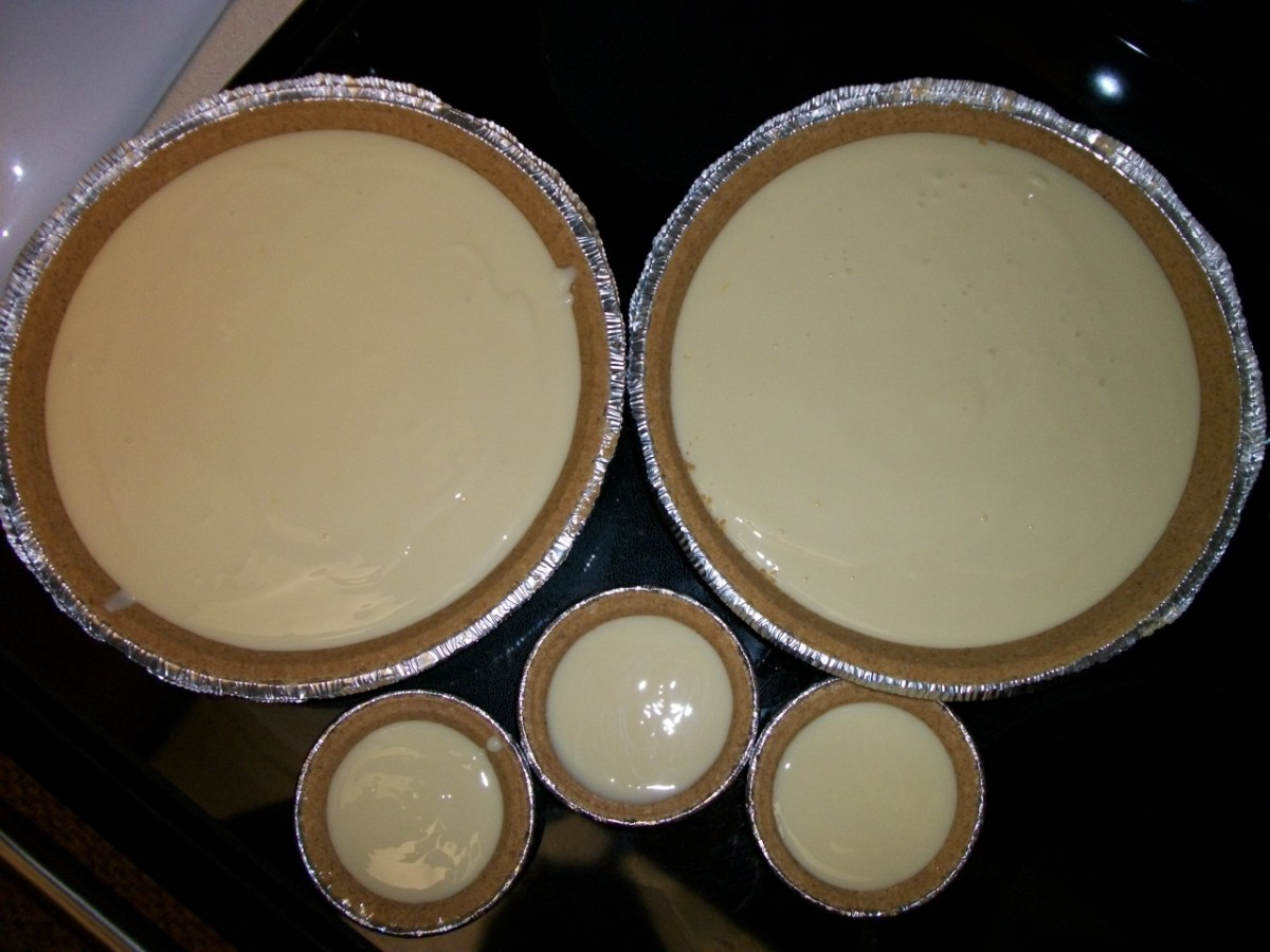 Triple batch made 2 deep dish pies and 3 individual servings.  Personal photos.