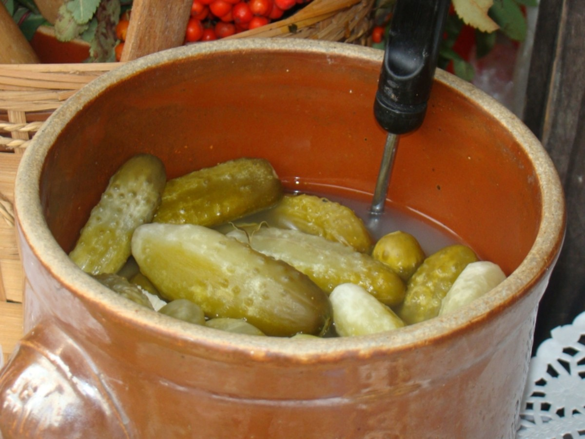 Ogórki kiszone (pickled cucumbers made without vinegar).