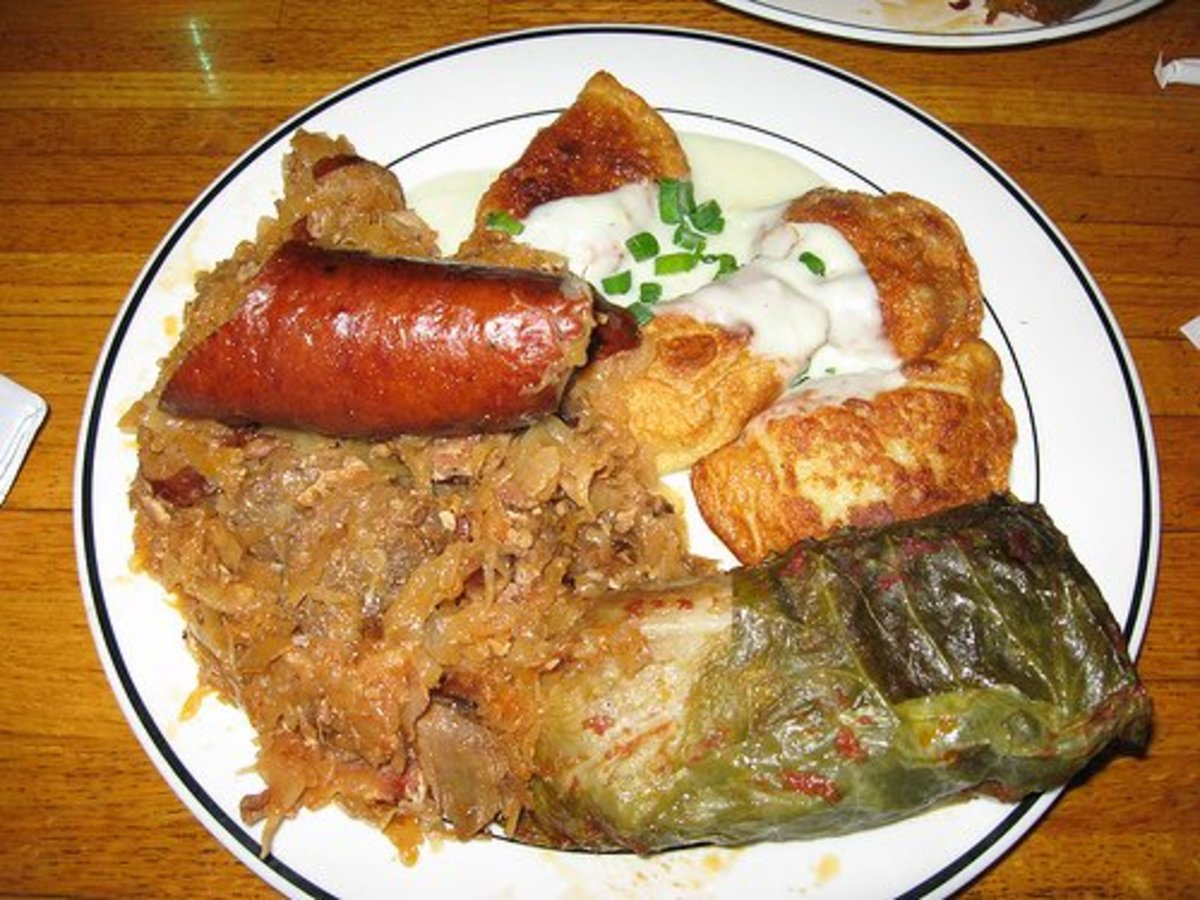 Polish food often contains a lot of cabbage and potatoes and is definitely the kind of food that sticks to your ribs.