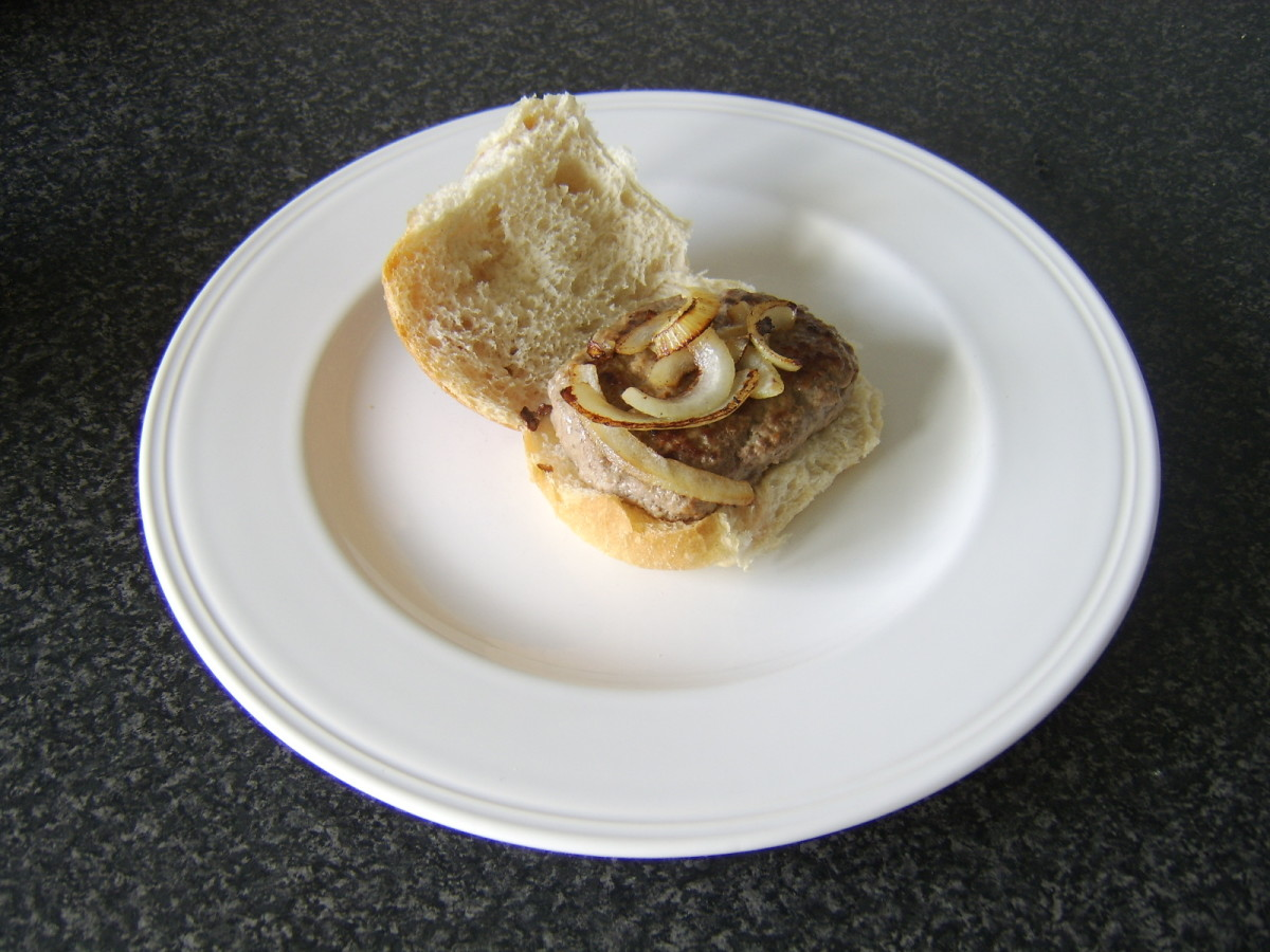 Roll and Lorne Sausage and Fried Onions