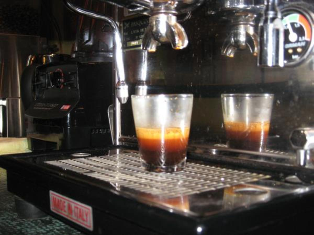 "Ask for a ""doppio"" only if you're ordering a plain double shot of espresso. If you are ordering an espresso drink (a latte or capuccinno) with two shots, ask for ""a double"" or two shots."