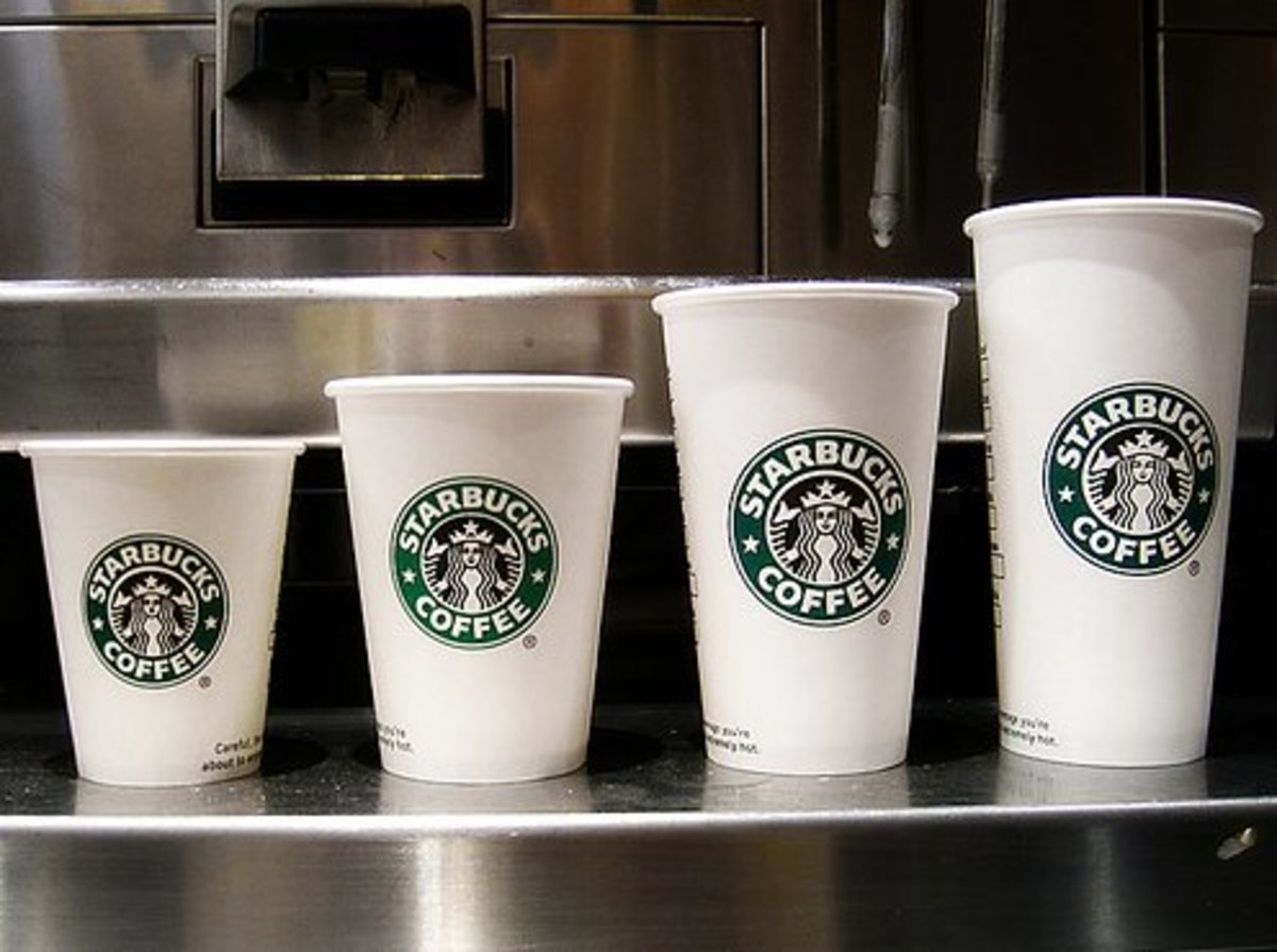 This illustrates the sizes available for hot drinks at Starbucks. From left to right: short, tall, grande, and venti.
