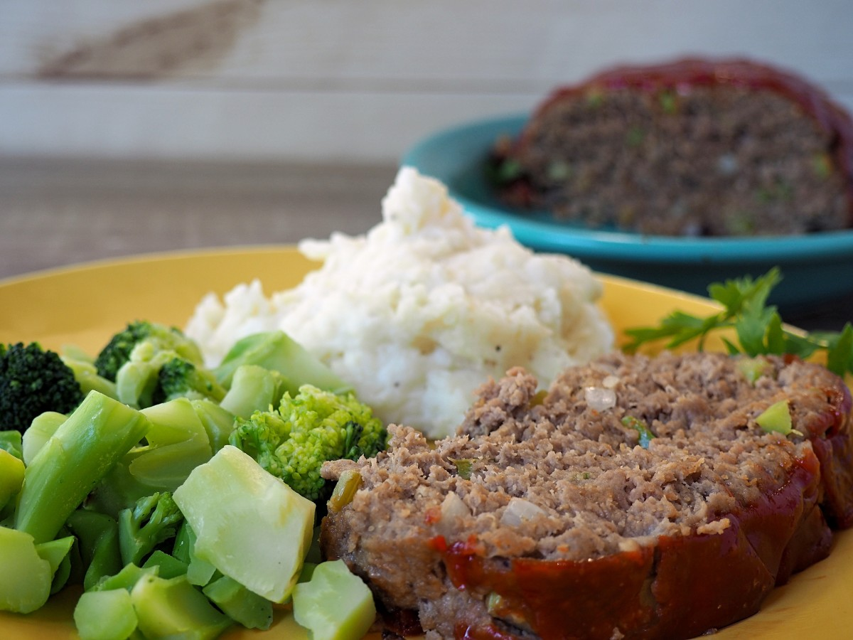 This meatloaf recipe is delicious with a side of mashed potatoes.