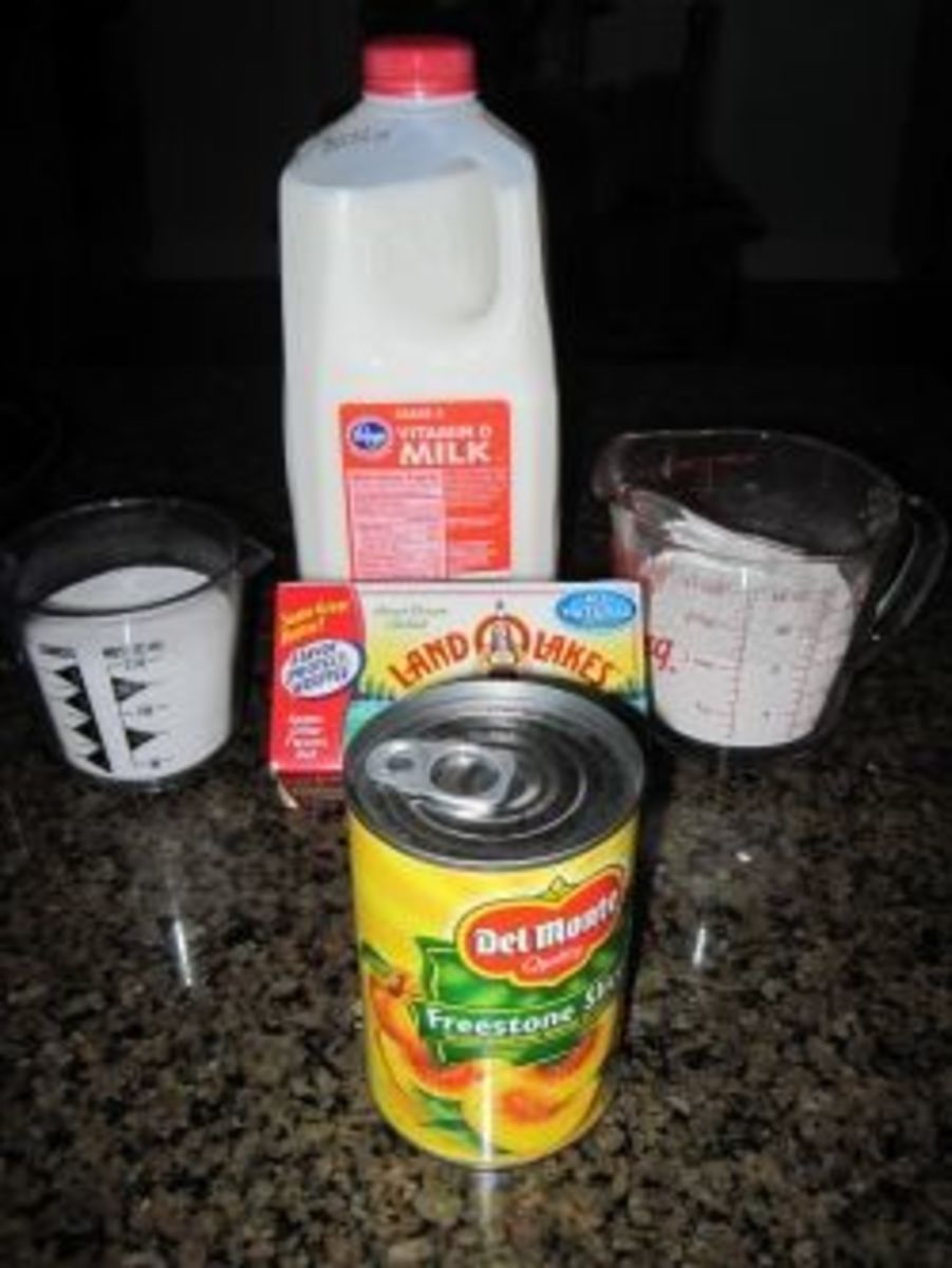 Ingredients for Peach Cobbler Recipe