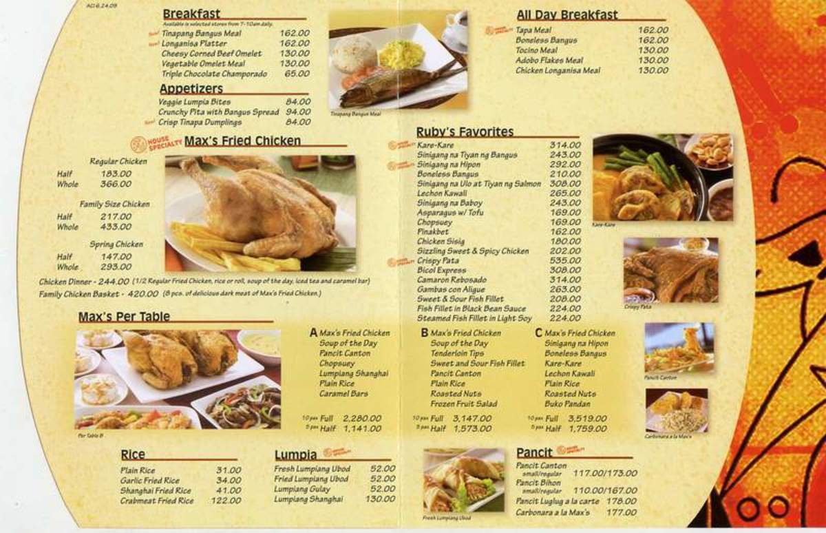 Max's Restaurant Specialty Menu