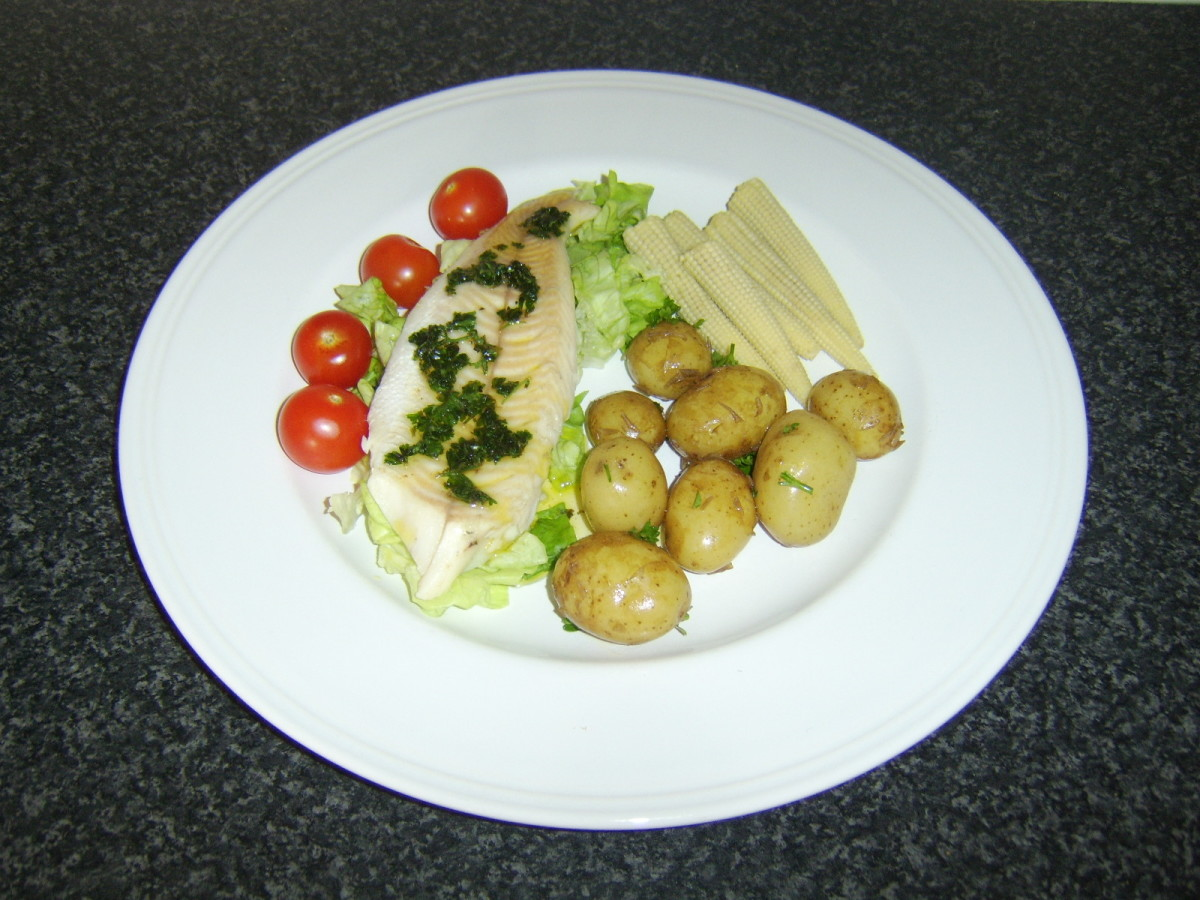 Fillet of Roast Pike with Meuniere Sauce, Served with Boiled New Potatoes and Salad