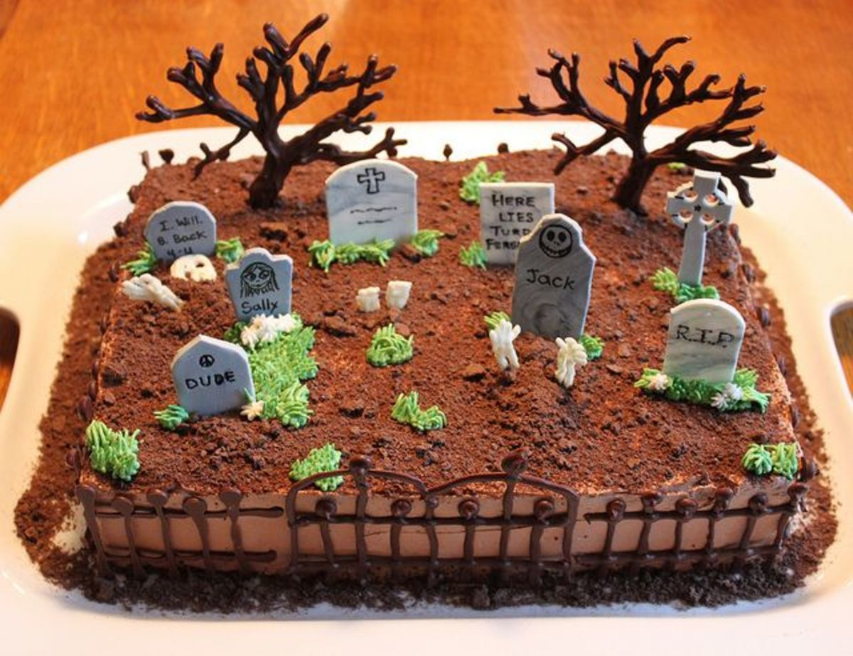 How about a ghostly graveyard cake for your Halloween party?