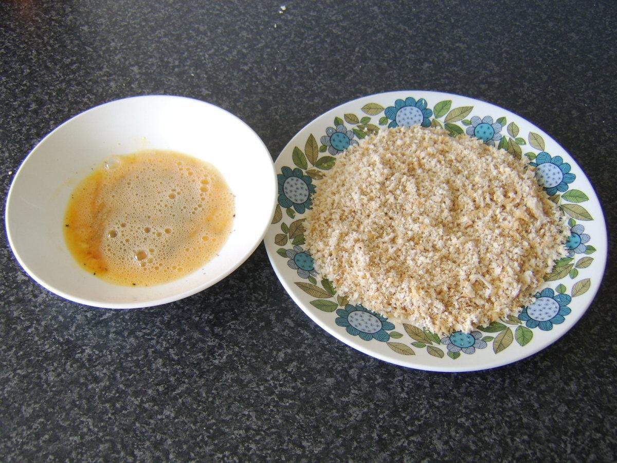 Beaten, Seasoned Egg and Fresh Breadcrumbs