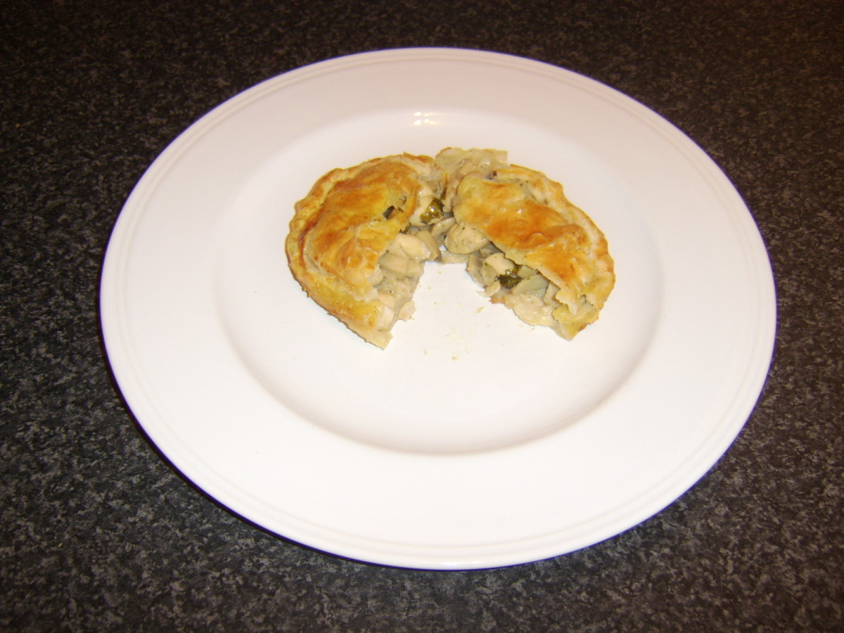 Cutting in to an Individual Chicken and Mushroom Pie