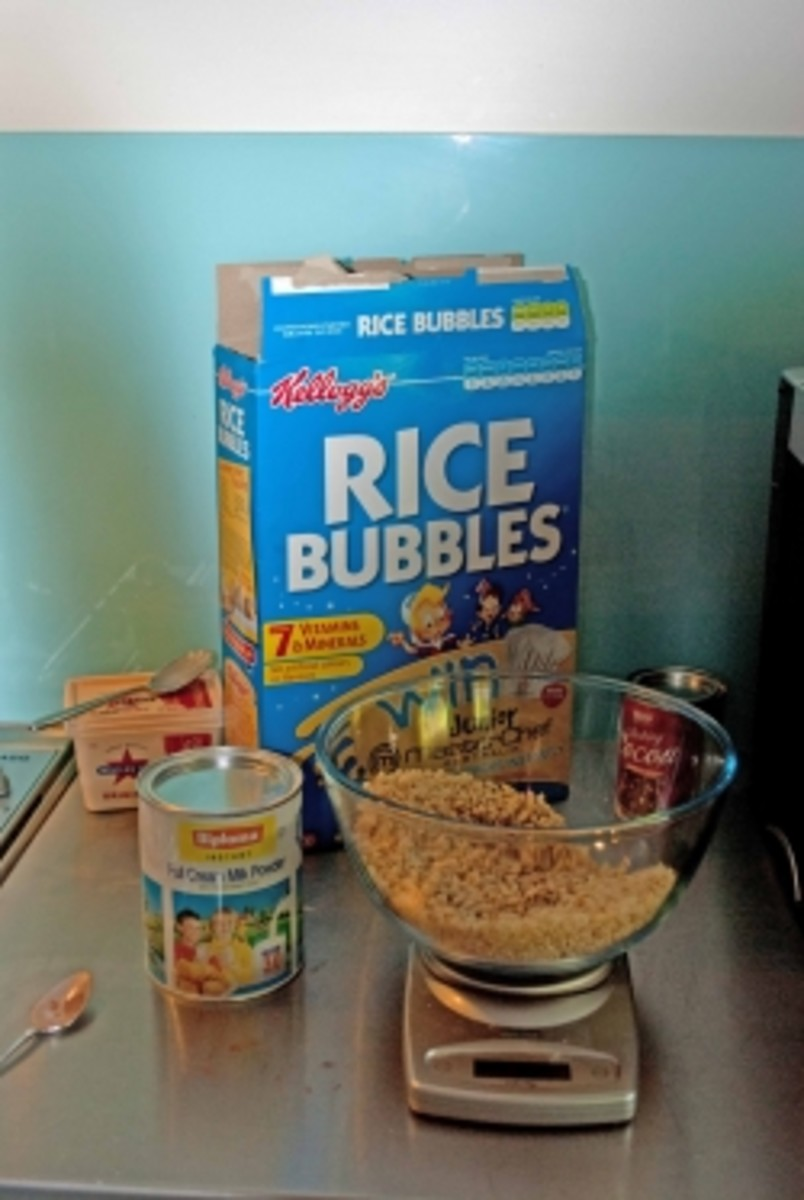 Chocolate Cracknell ingredients (Rice Bubbles are called Rice Krispies in the UK and US.)