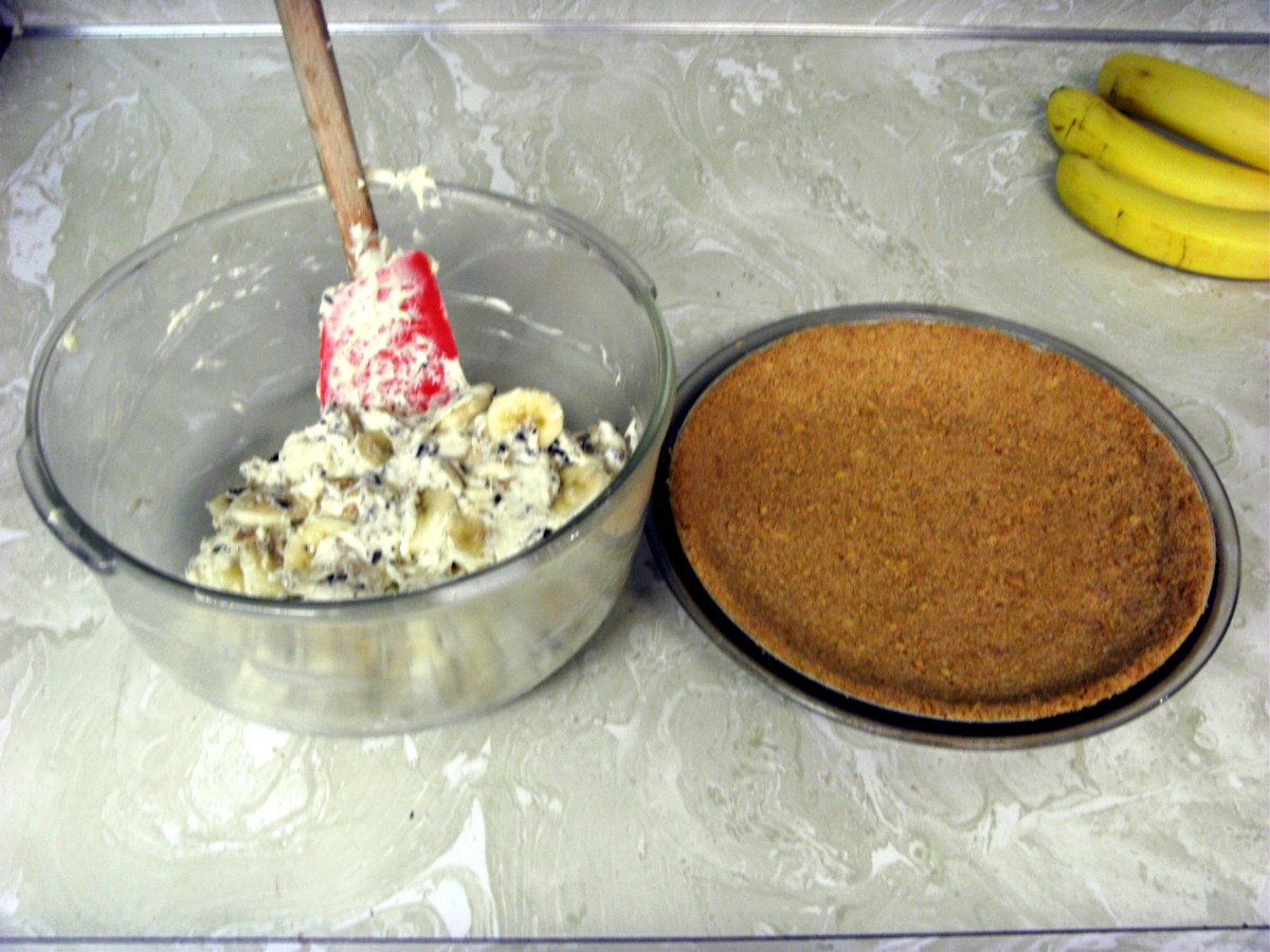 Mixture has all been carefully folded together, ready to go in the crust