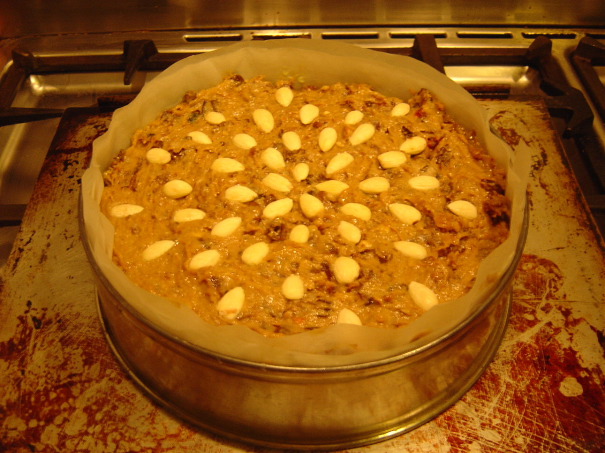 Decorate with almonds and put into a very cool oven