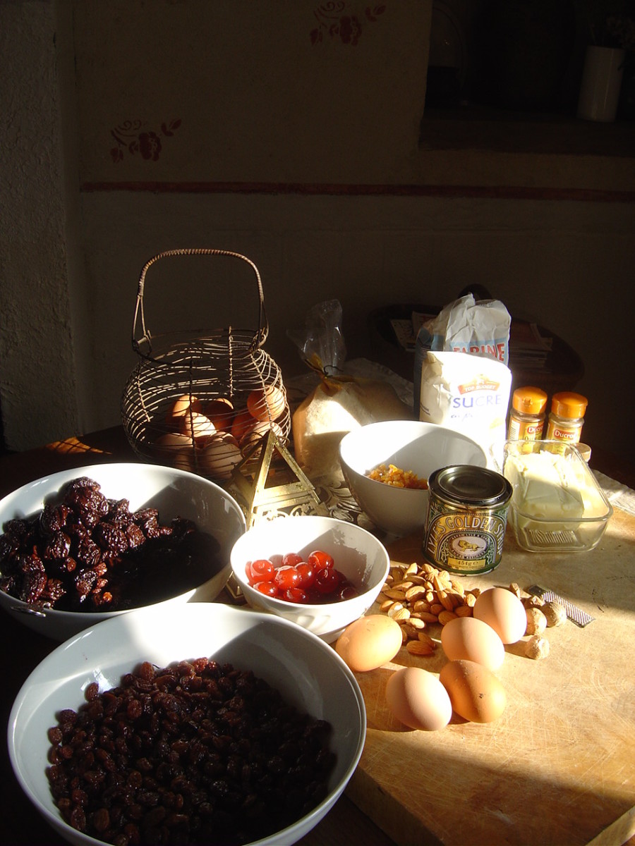 Christmas cake ingredients. (I forgot to add baking powder and vinegar. I also had to substitute prunes for currants.)