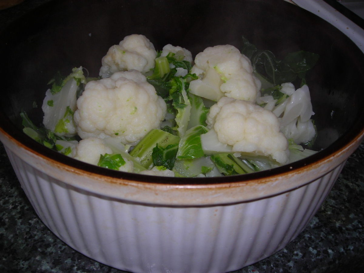 The cauliflower should be only lightly cooked.