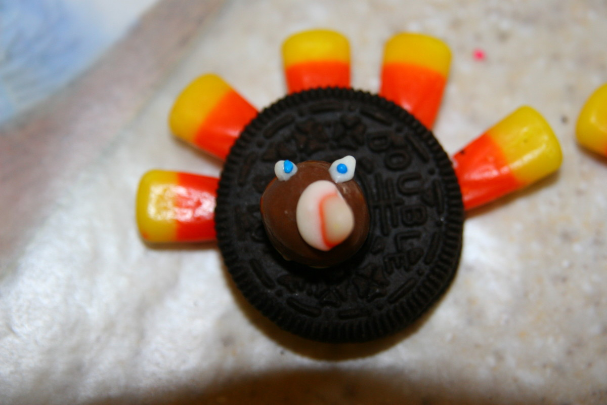 "A completed turkey cookie ready to be ""gobbled up!"""