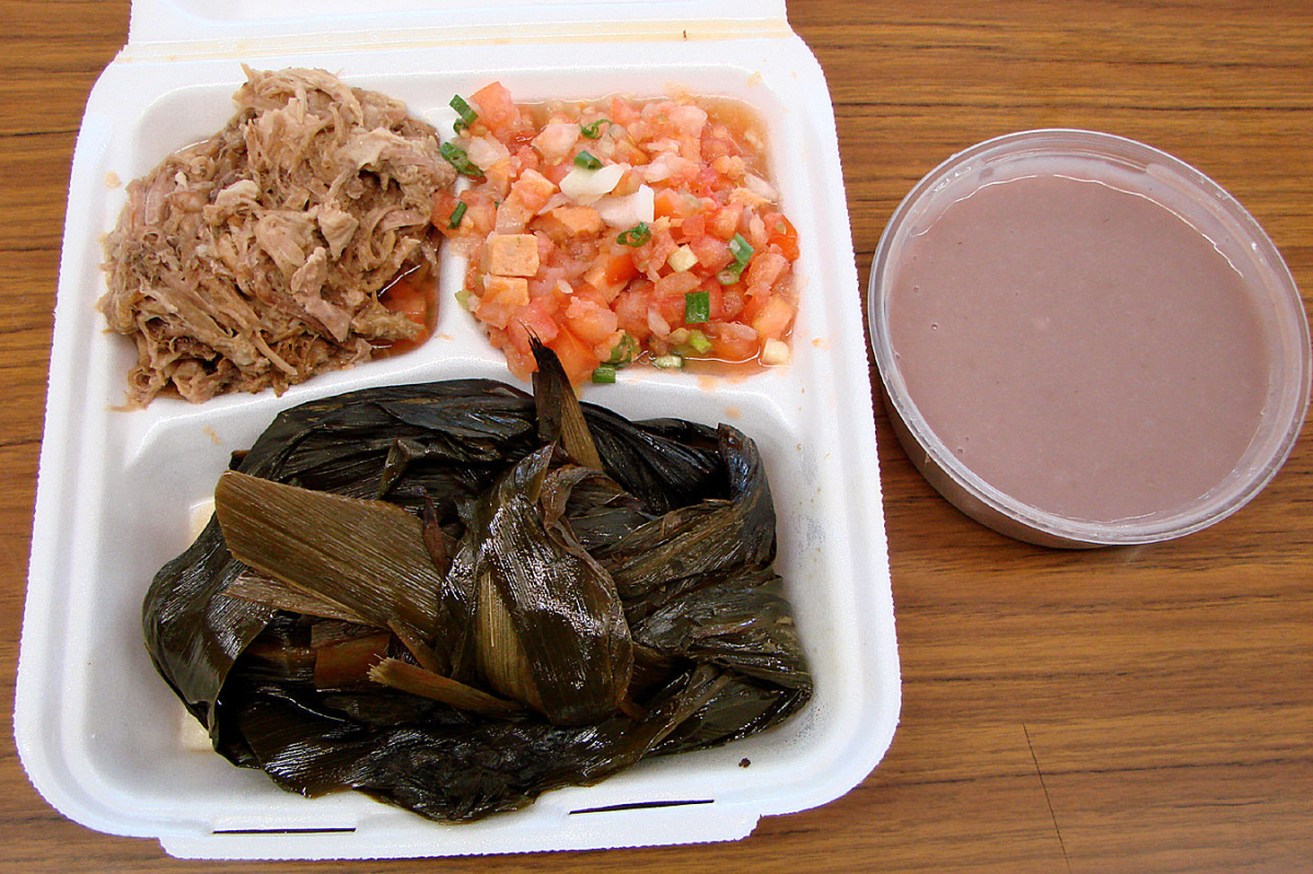 Hawaiian Plate with Laulau, Lomi Salmon, Kalua Pig & Poi from Asahi Grill