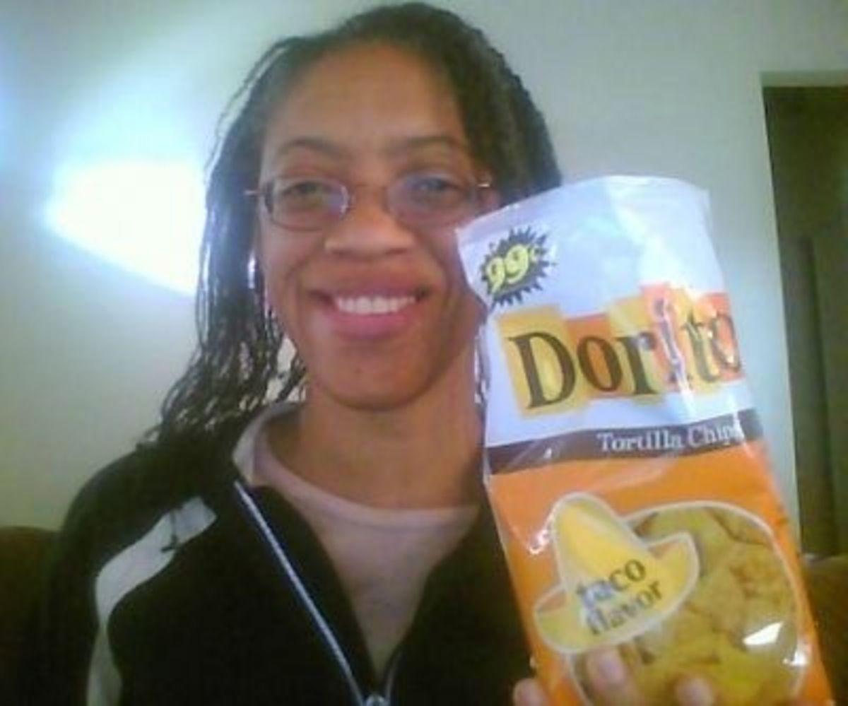 Back home with my Doritos bag