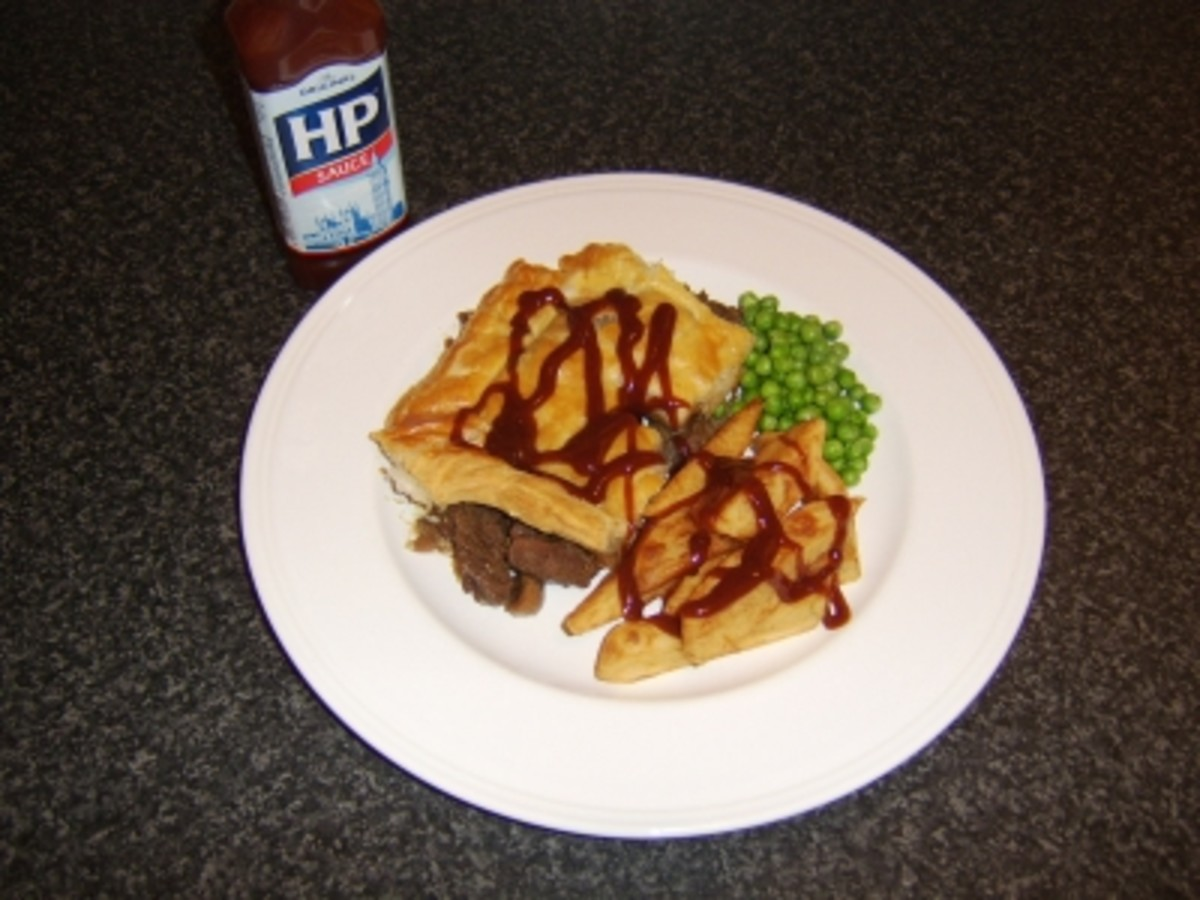Homemade Steak and Kidney Pie with Chips, Peas and HP Sauce