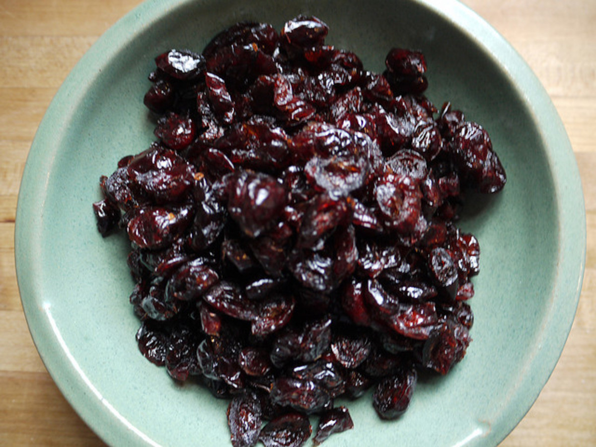 Sticky dried cranberries
