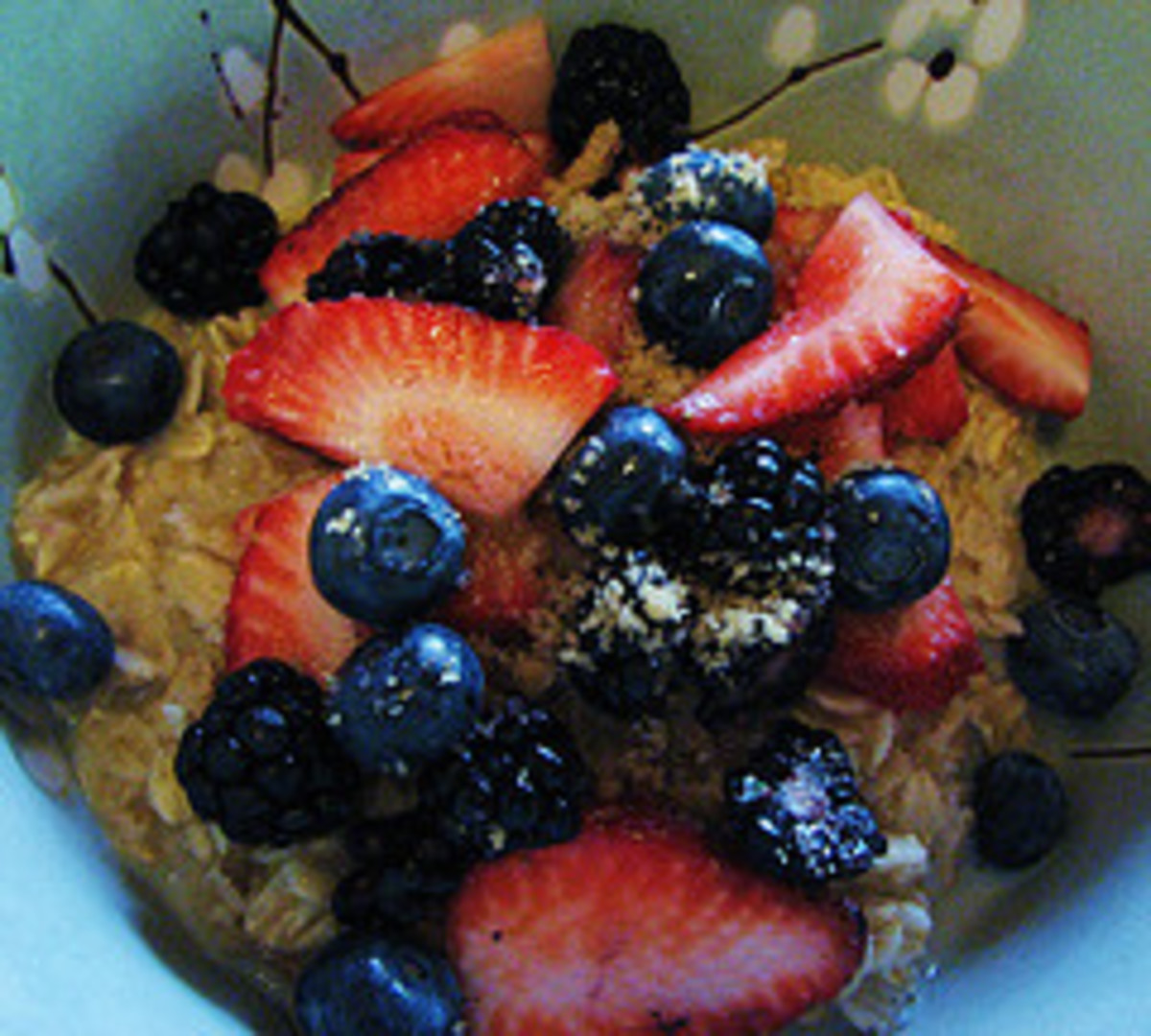 Put muesli in a bowl at breakfast time, add juice of choice and decorate with fresh fruit.