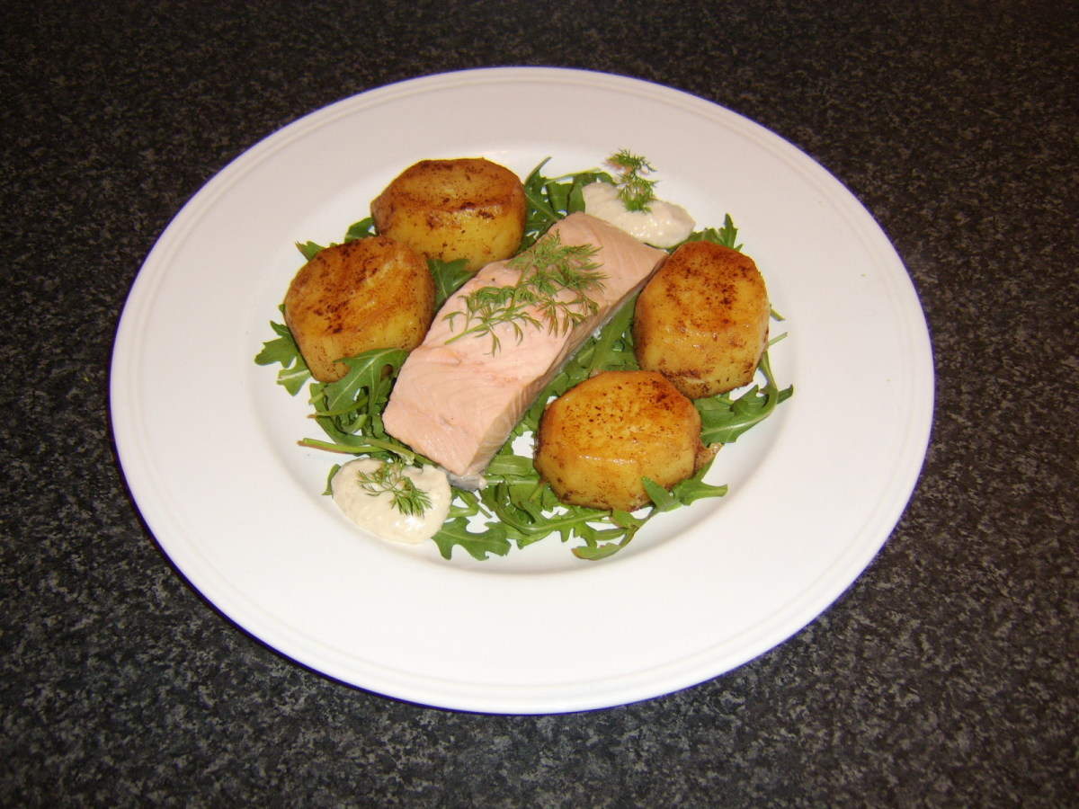 Plated fondant potatoes.