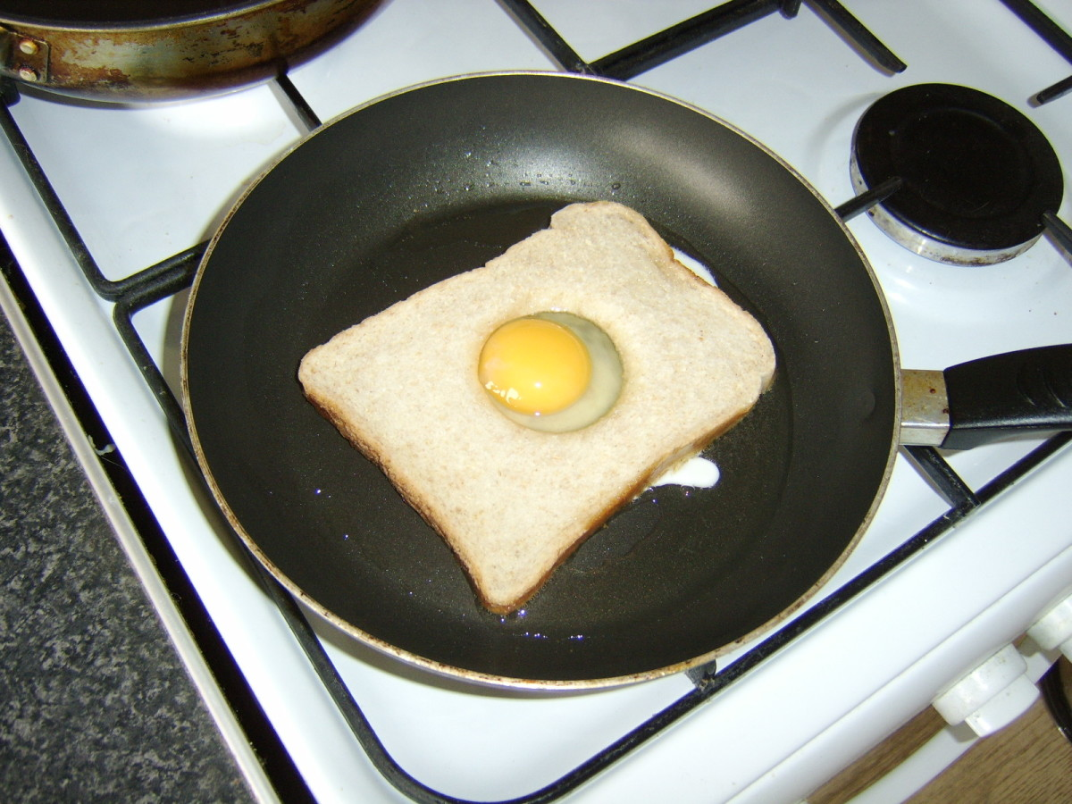 Pan frying the eggy bread