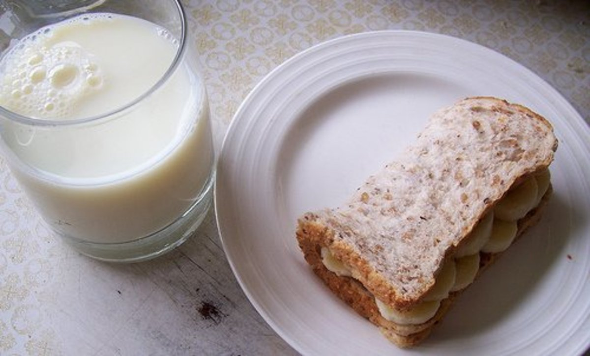 An Almond Butter and Banana Sandwhich